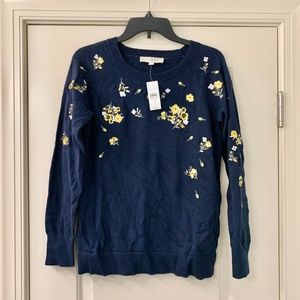 LOFT Navy Pansy Floral Embroidered Sweater NWT XS